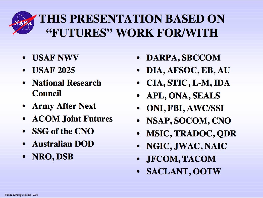 NASA - Future Strategic Issues/Future warfare [Circa 2025 ...